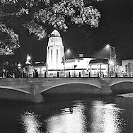 Night scene of City Hall and the Main Street Bridge  over the Fox River in St. Charles, IL   Aspect Ratio 1w x 1h