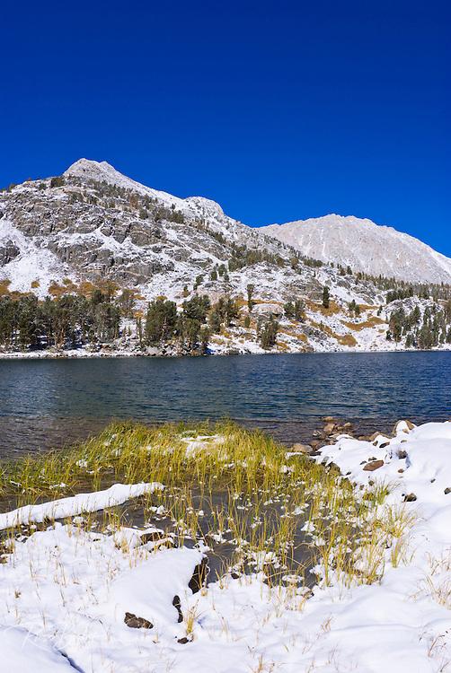 Mount Starr from Long Lake after an early storm, John Muir Wilderness, Sierra Nevada Mountains, California