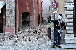 Earthquake in Valnerina. In the photo: the red area of 'Äã'Äãthe province of Macerata Visso. NO WEB *** *** *** NO DAILY