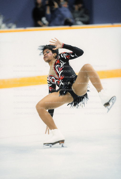 CALGARY, CANADA -  FEBRUARY 27:  Debi Thomas of the USA stumbles during her Long Program of the Women's Singles event of the Figure Skating competition of the 1988 Winter Olympic Games on February 27, 1988 at the Saddledome in Calgary, Alberta, Canada.  Thomas was the bronze medalist in the event.    (Photo by David Madison/Getty Images)