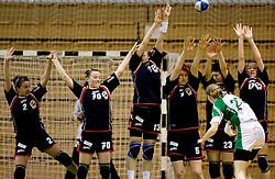 Players of Celje at handball Slovenian cup match for 3rd place between ZRK Krka Novo mesto and ZRK Celje Celjske mesnine, on March 28, 2010, SD Leon Stukelj, Novo mesto, Slovenia.  Krka defeated Celje 35-32. (Photo by Vid Ponikvar / Sportida)