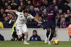 October 28, 2018 - Barcelona, Catalonia, Spain - October 28, 2018 - Camp Nou, Barcelona, Spain - LaLiga Santander- FC Barcelona v Real Madrid CF; Ousmane DembŽlŽ of FC Barcelona dribbles Nacho of Real Madrid. (Credit Image: © Marc Dominguez/ZUMA Wire)