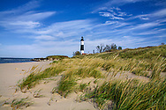 A Sandy Beach And Beach Grass At The Big Sable Point Lighthouse On Lake Michigan, Michigan's Lower Peninsula, USA