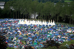 View of the festival from the castle tower, the Connect festival in Inveraray.<br /> ©Pic : Michael Schofield.