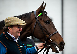 Nicky Henderson and Buveur D'Air poses for the media during the visit to Nicky Henderson's yard at Seven Barrows, Lambourn.