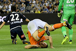 November 11, 2017 - Melbourne, Victoria, Australia - AVRAM PAPADOPOULOS (6) of Brisbane tumbles to the ground in the round six match of the A-League between Melbourne Victory and Brisbane Roar at Etihad Stadium, Melbourne, Australia. Melbourne drew 1-1 (Credit Image: © Sydney Low via ZUMA Wire)