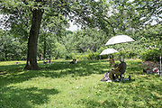 A painter at work in Fort Tryon Park.