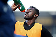 Fulham midfielder Andre-Frank Zambo Anguissa (29) warming up during the Premier League match between Everton and Fulham at Goodison Park, Liverpool, England on 29 September 2018.