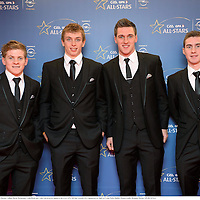 8 November 2013; Clare hurlers, from left, Pádraic Collins, David McInerney, Colin Ryan and Colm Galvin arrive ahead of the GAA GPA All-Star Awards 2013 Sponsored by Opel, at Croke Park, Dublin. Picture credit: Brendan Moran / SPORTSFILE