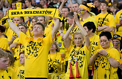 Dissapointed fans of Belchatow at 1st Semifinal match of CEV Indesit Champions League FINAL FOUR tournament between PGE Skra Belchatow, Poland and Dinamo Moscow, Russia, on May 1, 2010, at Arena Atlas, Lodz, Poland. (Photo by Vid Ponikvar / Sportida)