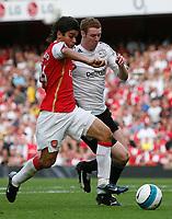 Photo: Steve Bond.<br />Arsenal v Derby County. The FA Barclays Premiership. 22/09/2007. Eduaardo (L) v Stephen Pearson