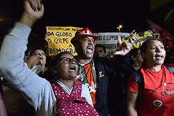 April 18, 2018 - Sao Paulo, Brazil - Protesters chant outside the door of Rede Globo against the broadcaster and for the release of Lula. Luiz Lula da Silva was jailed on corruption charges but remains the leftist Workers' Party candidate for Brazil's October presidential election and an overall favorite in the polls. (Credit Image: © Cris Faga via ZUMA Wire)
