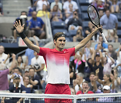 August 31, 2017 - Flushing Meadows, New York, U.S - Roger Federer celebrates after winning his match on Day Four of the 2017 US Open against  Mikhail Youzhny at the USTA Billie Jean King National Tennis Center on Thursday August 31, 2017 in the Flushing neighborhood of the Queens borough of New York City. Federer defeats Youzhny, 6-1, 6-7(7-3), 4-6, 6-4, 6-2. First time Federer play consecutive 5 set matches. (Credit Image: © Prensa Internacional via ZUMA Wire)