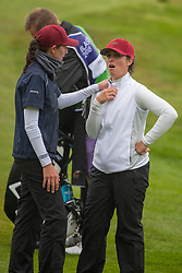 Frances Justine Dreher is distraught following her disaster on the 2nd playoff hole and has to be consoled by her team mate Manon Molle as Sweden won the hole and the final during day eleven of the 2018 European Championships at Gleneagles PGA Centenary Course. PRESS ASSOCIATION Photo. Picture date: Sunday August 12, 2018. See PA story GOLF European. Photo credit should read: Kenny Smith/PA Wire. RESTRICTIONS: Editorial use only, no commercial use without prior permission
