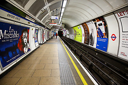 © Licensed to London News Pictures. 15/03/2020. London, UK. An empty platform at Oxford Circus Underground Station on a Sunday afternoon amid an increased number of coronavirus (COVID-19) cases in the UK. 35 coronavirus victims have died and 1,372 cases have tested positive of the virus in the UK. Photo credit: Dinendra Haria/LNP