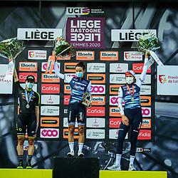 BROWN Grace ( AUS ) – MITCHELTON SCOTT ( MTS ) - AUS – Second Place - DEIGNAN Elizabeth ( GBR ) – TREK - Segafredo ( TFS ) - USA – Winner - First Place - VAN DIJK Ellen ( NED ) – TREK - Segafredo ( TFS ) - USA – Third Place - Award Ceremony – Medal Ceremony – Podium - Querformat - quer - horizontal - Landscape - Event/Veranstaltung: Liège Bastogne Liège - Category/Kategorie: Cycling - Road Cycling - Elite Women - Elite Men - Location/Ort: Europe – Belgium - Wallonie - Liège - Start: Bastogne-Womens Race - Liège-Mens Race - Finish: Liège - Discipline: Road Cycling - Distance: 257 km - Mens Race - 135 km - Womens Race - Date/Datum: 04.10.2020 – Sunday - Photographer: © Arne Mill - frontalvision.com