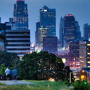 Kansas City MO skyline view at dusk from near Liberty Memorial.