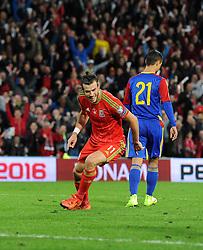 Gareth Bale of Wales celebrates his goal - Mandatory byline: Dougie Allward/JMP - 07966 386802 - 13/10/2015 - FOOTBALL - Cardiff City Stadium - Cardiff, Wales - Wales v Andorra - European Qualifier 2016 - Group B