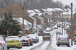 © Licensed to London News Pictures 09/02/2021.        Bromley, UK. The snow continues to fall in the Borough of Bromley, South East London. Weather warnings remain in place across the UK for more freezing cold snowy weather. Photo credit:Grant Falvey/LNP