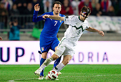Giampaolo Pazzini of Italy vs Bostjan Cesar of Slovenia during EURO 2012 Quaifications game between National teams of Slovenia and Italy, on March 25, 2011, SRC Stozice, Ljubljana, Slovenia. Italy defeated Slovenia 1-0.  (Photo by Vid Ponikvar / Sportida)