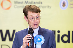 © Licensed to London News Pictures. 08/05/2021. Birmingham, UK. Midlands Mayor. The announcement of West Midlands Mayor in the elections 2021. Pictured, Andy Street, accepts his win. Photo credit: Dave Warren / LNP