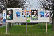 Nederland, Urk, 19-2-2015 Verkiezingsbord met affiches voor de komende verkiezingen voor de provinciale staten en het waterschap. Netherlands, election board with posters for the forthcoming elections. Foto: Flip Franssen/Hollandse Hoogte