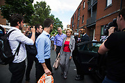 Leader of the House of Commons Andrea Leadsom after she paid relatives a visit in a nearby centre June 16th 2017, London, United Kingdom. Grenfell Tower burned out after a catastophic fire killing more than 58 people. The tower caught fire early Wednesday morning and final casualty figueres may end up to be many more with police not expecting to be able to find and recover all bodies and to find all missing people. No fire sprinkler in place and cheap cladding made with plastic is so far blamed for the ferocious fire.