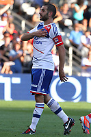 FOOTBALL - FRENCH CHAMPIONSHIP 2012/2013 - L1 - OLYMPIQUE LYONNAIS v AC AJACCIO - 16/09/2012 - PHOTO EDDY LEMAISTRE / DPPI - JOY OF LISANDRO LOPEZ (OL) AFTER HIS GOAL