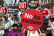 Peoples Assembly demonstration: No More Austerity - No To Racism - Tories Must Go, on Saturday July 16th in London, United Kingdom. Tens of thousands of people gathered to protest in a march through the capital protesting against the Conservative Party cuts. Almost 150 Councillors from across the country have signed a letter criticising the Government for funding cuts and and will be joining those marching in London. The letter followed the recent budget in which the Government laid out plans to cut support for disabled people while offering tax breaks for big business and the wealthy. (photo by Mike Kemp/In Pictures via Getty Images)