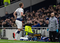 Football - 2018 / 2019 UEFA Champions League - Quarter Final , First Leg: Tottenham Hotspur vs. Manchester City<br /> <br /> Harry Kane (Tottenham FC)  limps over the line after turning his ankle at White Hart Lane Stadium.<br /> <br /> COLORSPORT/DANIEL BEARHAM