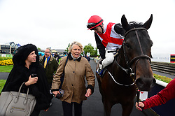 Colm O'Donoghue on Brother Bear with trainer Jessica Harrington and daughter Kate after winning The Cold Move Irish EBF Marble Hill Stakes at the Curragh Racecourse, Dublin.