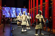 Sculpture figures of Terracotta warriors of Qin Emperor's army exhibit on display at MOMU Moesgaard Museum, Hojbjerg, Denmark