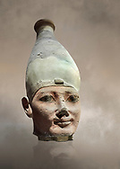 Ancient Egyptian head of a Thutmosid Thutmose king, New Kingdom, 18th Dynasty (1550-1292 BC), Thebes. Egyptian Museum, Turin. <br /> <br /> The Eighteenth Dynasty of Egypt  is classified as the first dynasty of the New Kingdom of Egypt, the era in which ancient Egypt achieved the peak of its power. This dynasty is also known as the Thutmosid Dynasty for the four pharaohs named Thutmose. Founded by Ahmose I who was suceeded by Thutmose I, Thutmose II, Thutmose III .<br /> <br /> If you prefer to buy from our ALAMY PHOTO LIBRARY  Collection visit : https://www.alamy.com/portfolio/paul-williams-funkystock/ancient-egyptian-art-artefacts.html  . Type -   Turin   - into the LOWER SEARCH WITHIN GALLERY box. Refine search by adding background colour, subject etc<br /> <br /> Visit our ANCIENT WORLD PHOTO COLLECTIONS for more photos to download or buy as wall art prints https://funkystock.photoshelter.com/gallery-collection/Ancient-World-Art-Antiquities-Historic-Sites-Pictures-Images-of/C00006u26yqSkDOM