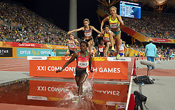Kenya's Purity Cherotich Kirui leads the Women's 3000m Steeplechase Final at the Carrara Stadium during day seven of the 2018 Commonwealth Games in the Gold Coast, Australia.