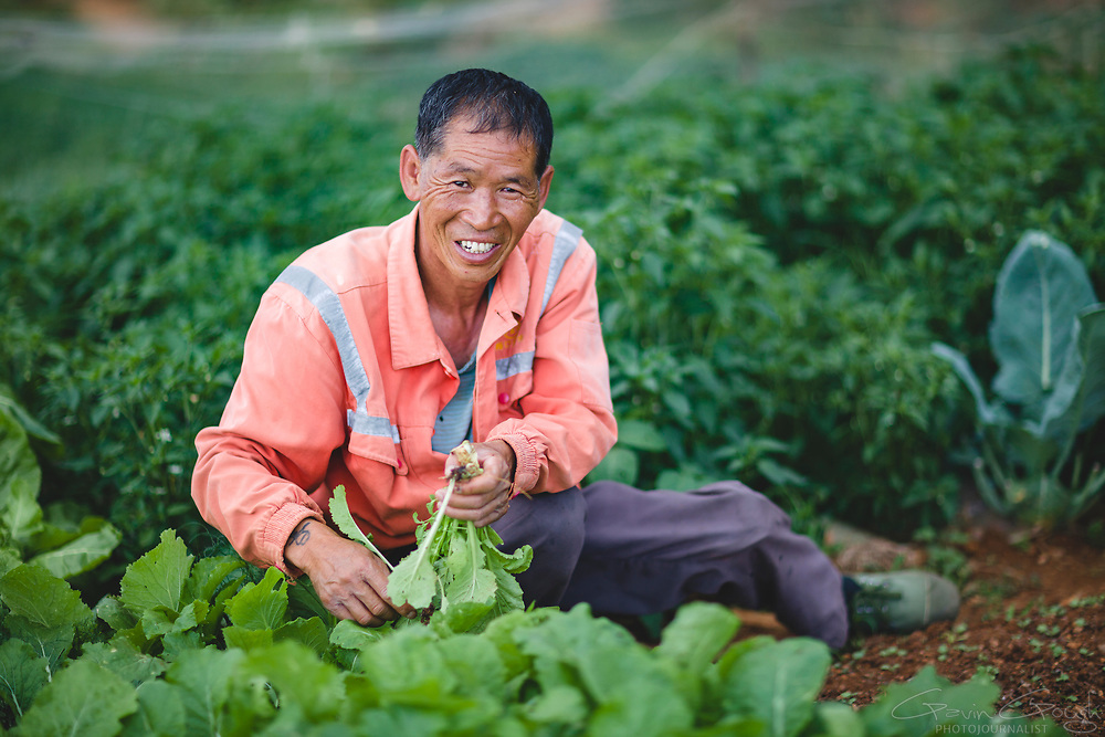 Despite losing his leg, Li's artificial limb allows him to lead an active life and he still maintains a thriving vegetable garden.