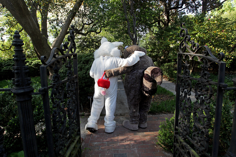 Following the easter egg hunt at the South Carolina Governor's Mansion the Easter Bunny and Palmetto Health Children's Hospital's Richie Raccoon say goodbye before going their seperate ways.