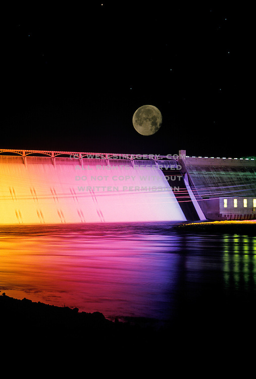 Image of the Grand Coulee Dam at night during a light show, Columbia River, eastern Washington, Pacific Northwest by Randy Wells