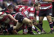 Watford, GREAT BRITAIN, 3rd April 2004, Vicarage Road, ENGLAND. [Mandatory Credit: Photo  Peter Spurrier/Intersport Images],<br /> 03/04/2004  - 2003/04 Zurich Premiership - Saracens v Gloucester<br /> James Simpson-Daniel, act as scrum half.