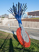 """""""Typewriter Eraser, Scale X"""" (1998-1999) by Claes Oldenburg and Coosje van Bruggen, is built of Stainless steel and fiberglass. Seattle Art Museum's Olympic Sculpture Park opened in 2007 at the southern end of Myrtle Edwards Park. Free entry. Address: 2901 Western Avenue, Seattle, Washington 98121, USA"""