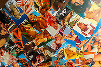 A collage of 1960's era surfer girl images on the ceiling of Manly Wine bar and restaurant, Manly Beach, Sydney, New South Wales, Australia