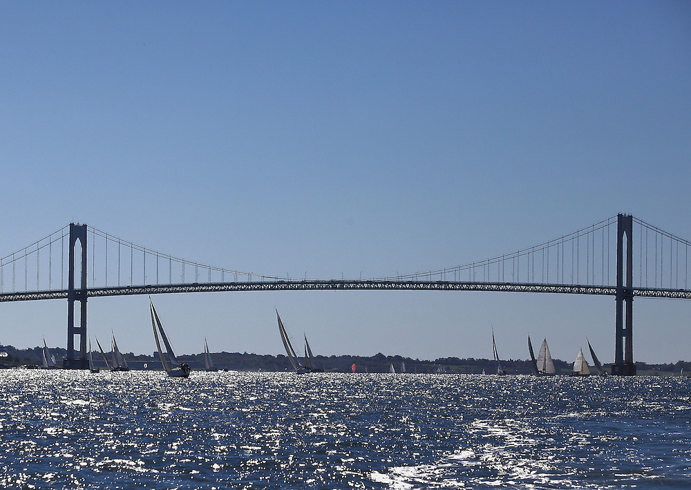 Sailboats under the Newport Bridge at the 9th Annual Sail for Hope event in Newport, RI.