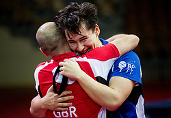 Wilson Ross William of Great Britain celebrates with his coach after he won at final match during Day 4 of SPINT 2018 - World Para Table Tennis Championships, on October 20, 2018, in Arena Zlatorog, Celje, Slovenia. Photo by Vid Ponikvar / Sportida