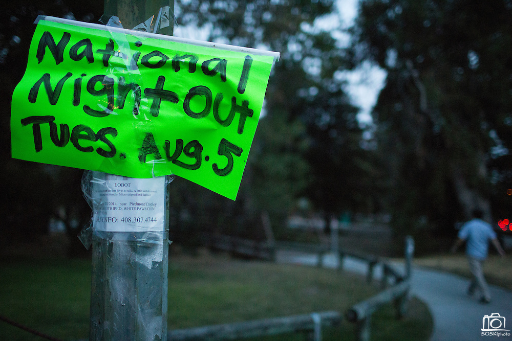 A sign near the entrance of Berryessa Creek Park points guest in the right direction during the National Night Out event at Berryessa Creek Park in San Jose, California, on August 5, 2014. (Stan Olszewski/SOSKIphoto)