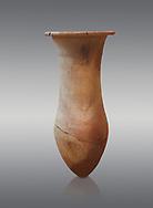 Hittite pottery vase from Hittite capital Hattusa, Hittite  Middle  Kingdom 1650-1450 BC, Bogazkale archaeological Museum, Turkey. Grey  background