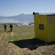 Men walking to the lake in Stenje, FYR Macedonia