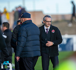 Clyde's manager Danny Lennon and Arbroath's manager Dick Campbell at the end. Arbroath 0 v 2 Clyde, Tunnocks Caramel Wafer Challenge Cup 4th Round, played 12/10/2019 at Arbroath's home ground, Gayfield Park.