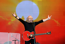 Barry Gibb performing on the Pyramid Stage at Glastonbury Festival, at Worthy Farm in Somerset.