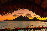 Looking from the deck of an overwater bungalow at Four Seasons Resort Bora Bora to Mt. Otemanu, Bora Bora, French Polynesia.