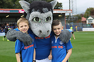Desmond the Dragon Rochdale Mascot pre-match during the EFL Sky Bet League 1 match between Rochdale and Gillingham at Spotland, Rochdale, England on 23 September 2017. Photo by Daniel Youngs.