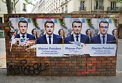May 4, 2017 - Paris, France - Election campaign posters are displayed of French presidential election candidate for the En Marche ! movement Emmanuel Macron, ahead of the second and final round of the French presidential election on May 7. (Credit Image: © Paulo Amorim/VW Pics via ZUMA Wire)